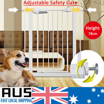 79cm Baby Safety Security Gate Adjustable Pet Dog Stair Barrier Pressure Mounted