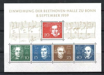West Germany 1959 Beethoven miniature sheet  unmounted mint Sg MS 1233a cat £33