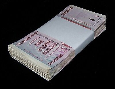 50 x Zimbabwe 5 Billion Dollar bank notes -1/2 bundle