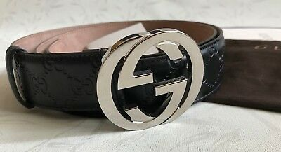 71a2f1e126a0 GUCCI BELT SIGNATURE 110 cm gg black leather cuir ceinture GUCCI ...