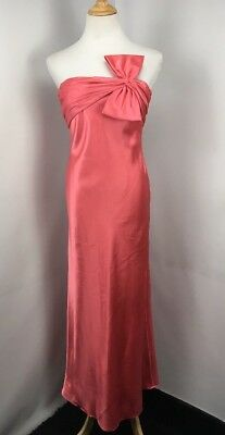 Adrianna Papell Boutique Strapless Gown with Bow Coral Pink Formal Prom Sz 4P
