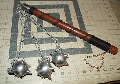 Medieval Gladiator Battle Mace Triple Spiked Metal Ball Fighting Weapon