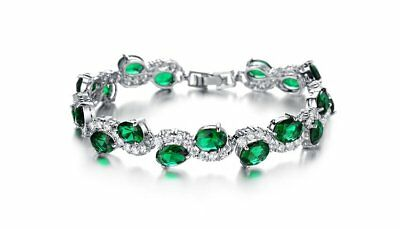 18k 18ct White gold GF Lab Diamond Green Emerald Tennis  Soild bracelet 19cm