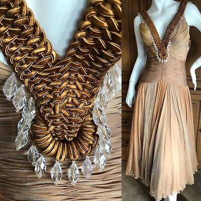 Versace Vintage Low Cut Micro Pleated Ombre Silk Dress with Beaded Macrame Trim