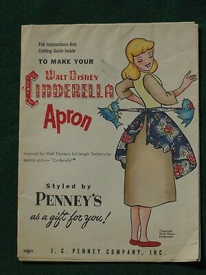 1950s WALT DISNEY CINDERELLA APRON PATTERN FULL INSTRUCTIONS NEVER USED