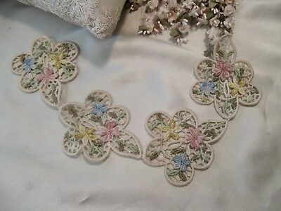 ANTIQUE APPLIQUE Embroidered  LACE ~ DOLL CRAFT DRESS