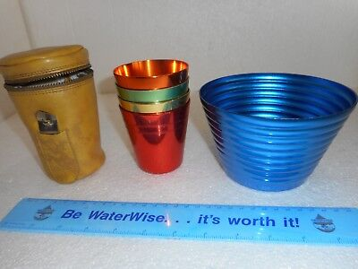 Vintage Set Anodised Cups Stokes Peacock Ware + Case. Free Peacockware Bowl
