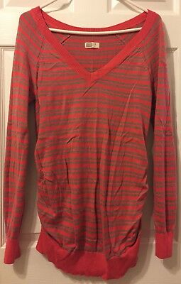 Old Navy Maternity V-Neck Long-Sleeve Coral/Gray Striped Sweater Size Small