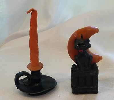 Lot Vintage Gurley Two Halloween Candles Cat In The Moon + Gurley Fall Candle