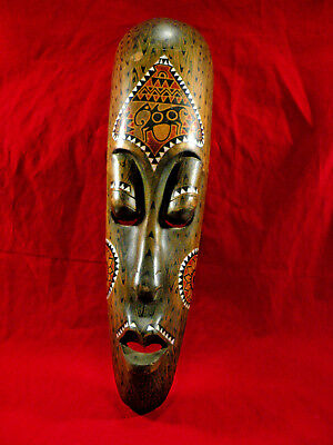 "Large 20"" African Wall Mask Hand Made With Mother Of Pearl"