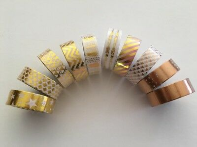 Gold foil print washi tape, Rose gold washi tape, Set of 10, Planner accessories