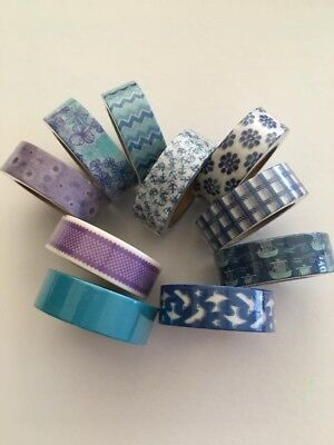 Blue washi tape, Purple washi tape, Set of 10, Planner accessories