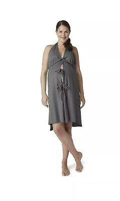 Pretty Pushers Labor Birthing Gown-CHARCOAL GREY Plus Size (18-26 Pre-pregnancy)