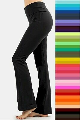 YOGA Pants Stretch COTTON Fold Waist Legging Zenana S M L XL Plus 1X 2X 3X