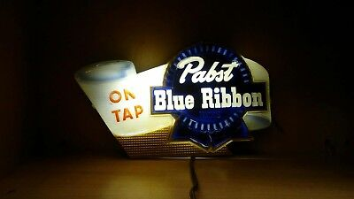 VINTAGE Pabst Blue Ribbon Beer Sign Lighted PBR Back Bar Milwaukee WI ON TAP
