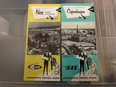 1960's SAS SCANDINAVIAN AIRLINES BROCHURE Copenhagen  and Nice