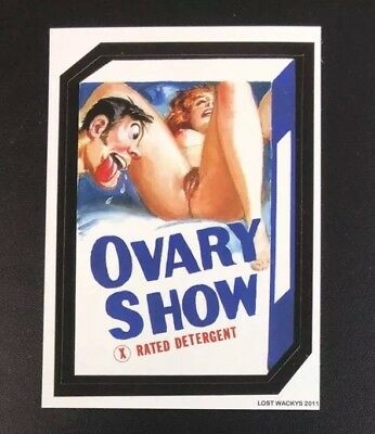 2011 Lost Wacky Packages Rare OVARY X SHOW Black Ludlow Back