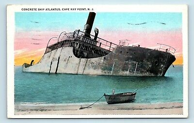 Cape May Point, NJ - RARE c1930s POSTCARD - ATLANTUS SHIPWRECK DISASTER - D3