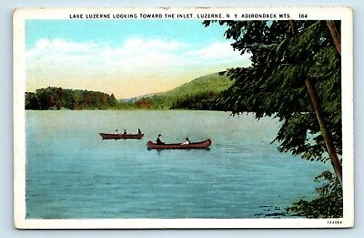 Lake Luzerne, Adirondacks, NY - c1920s VIEW OF LAKE & CANOES - POSTCARD - D3