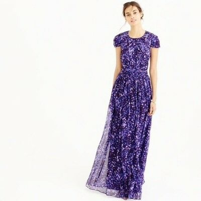J CREW Collection Dauphine Gown Size 14 Watercolor Purple $595