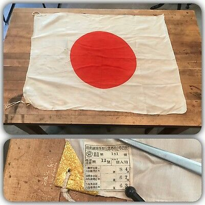 VTG 40s WWII Japan Meatball Silk Flag Military Rising Sun Banner With Tags NWT