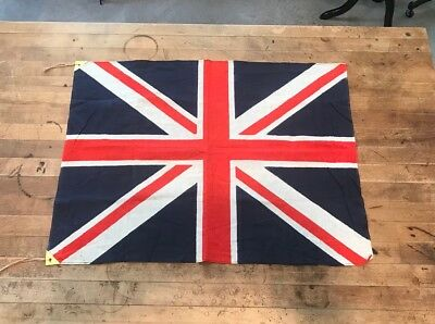 VTG 40s WWII UK British Union Jack Flag Cotton United Kingdom Military Banner