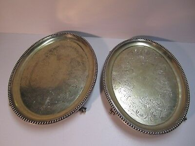 SET of 2 1800's SILVER PLATED OVAL BALL EDGE TRAYS ON BALL AND CLAW FEET ORNATE