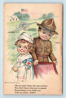 Rare Wwi Wallace Robinson Artist Signed Pc - Soldier & Nurse - Heininger - 2 E3