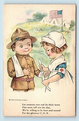 Rare Wwi Wallace Robinson Artist Signed Pc - Soldier & Nurse - Heininger - 1 E3