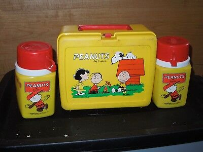 *Vintage Peanuts by Shulz Lunch Box + 2 Thermos 1950  1965 Charlie Brown Snoopy