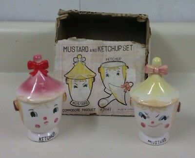 Vintage Commodore Pixieware Mustard & Ketchup Jars with BOX