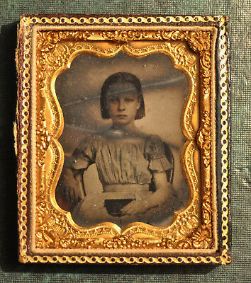 Ambrotype of Pretty Girl - Ninth-plate -Hand-Tinted - No lid on case - Cracked
