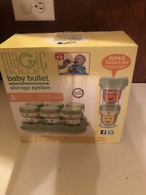 Magic Baby Bullet 6 Date Dial Storage Cups Tray With Travel Tube New In The Box