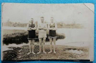 Vintage Postcard ~ THREE MEN IN BATHING SUITS c1910