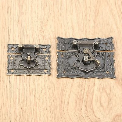 Rectangle Jewelry Wood Case Chest Box Clasp Hasp Latch Vintage Emboss Hardware