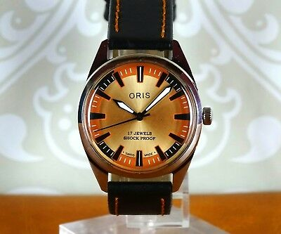 VINTAGE ORIS Men's Watch. Hand Winding, Gold Tone/B/O Dial, 17jewel, Swiss Made.