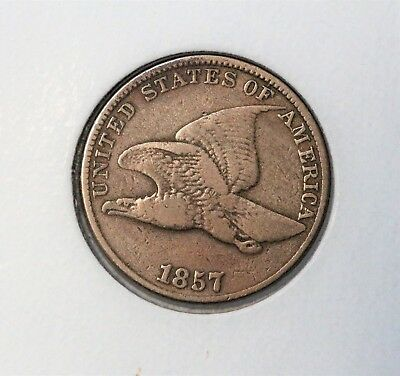 1857 1C Flying Eagle Cent FINE NICE DETAILS FREE SHIPPING .99 START!!!