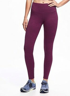 New Women Old Navy Active Go-Dry Mid-Rise Compression Leggings Sz L Berry $32.94