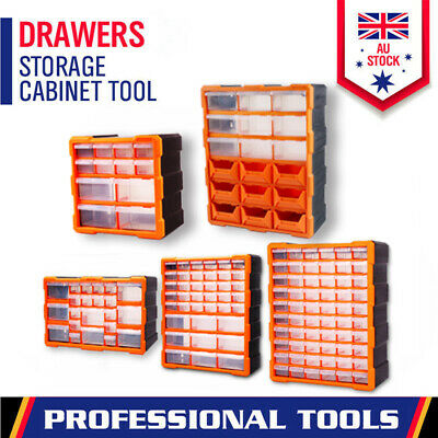 Tool Storage Bin Part Organiser Drawers Cabinet Box Chest Plastic With Dividers