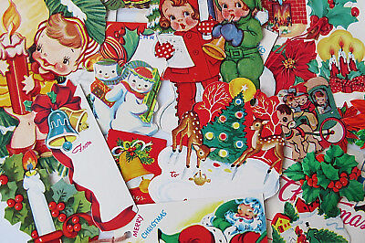 Vintage 40's 50's Old Christmas Gift Tag Seal Ephemera Collection Antique NICE