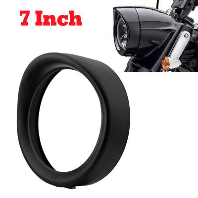 "7"" Motorcycle Headlight Decorate Trim Ring Visor For Harley Touring Road King BK"