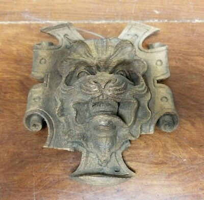 Small Antique Wood Gothic Face French Carved from NY Mansion