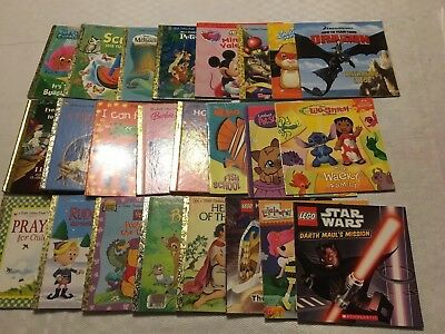 Lot of 24 Children's Books golden books, xmas, popular tv and movie characters