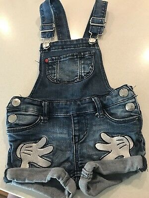 HM Girls Minnie Mouse Denim Overalls Size 3