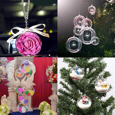 12 Ball Clear Plastic Christmas Craft Baubles Fillable Xmas Tree Decor Gift