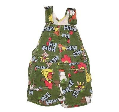 VTG Liberty Hee Haw 3T 4T Toddler Girl Boy Short Overalls Green Chickens