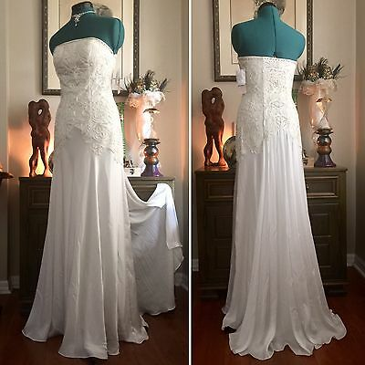 NWT SUE WONG Nocturne GOWN Wedding Formal Sz 6 Beaded Gatsby DRESS Deco Bridal