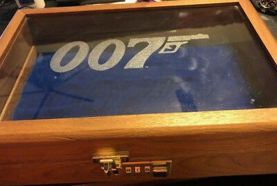 Rare James Bond S.d. Studios Collector's Wooden Case W/etched 007 Logo On Glass