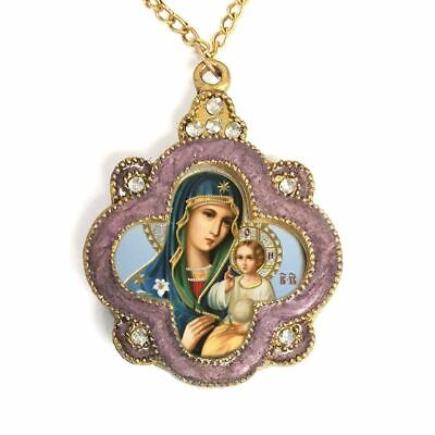 Virgin Mary Internal Bloom Ornate Jeweled Icon Pendant w/ Chain Bow - Antique