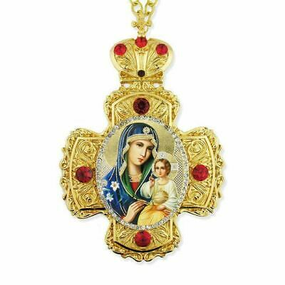 Mary Eternal Bloom Wall Hanging Ornate Jeweled & Enameled Framed Cross w/ Icon
